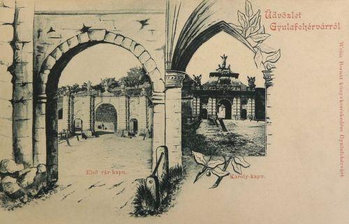 Gyulafehérvár:első vár kapu és Károly kapu.1899