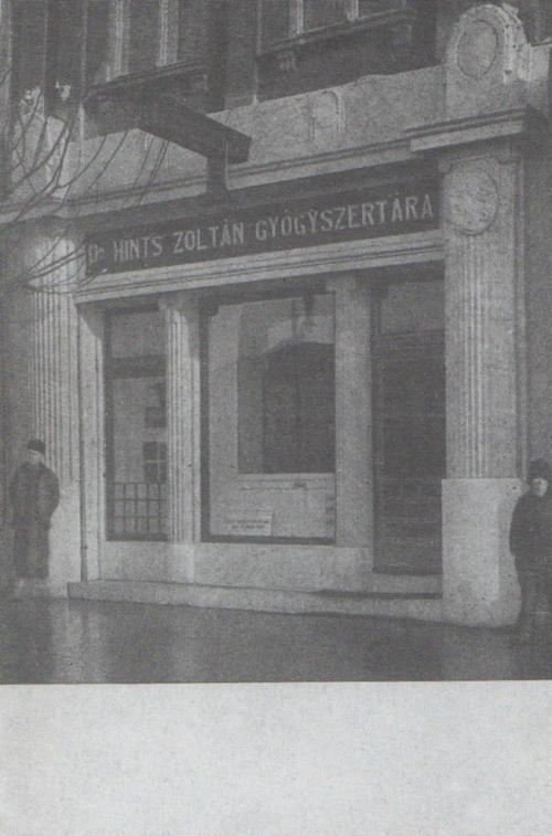 Dr.Hints Zoltán gyógyszertára,1914 körül.