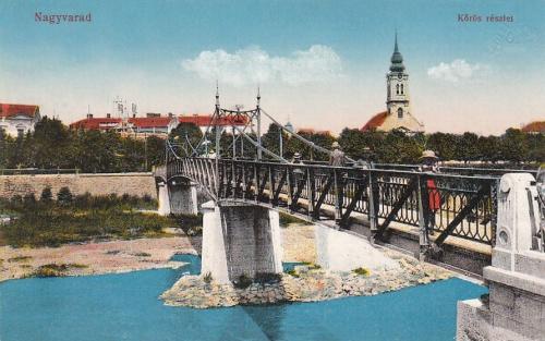 Nagyvárad:Kürüs részlet,hid és templom.1916