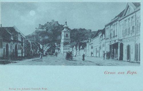 Kőhalom:főtér látképe a várral.1899