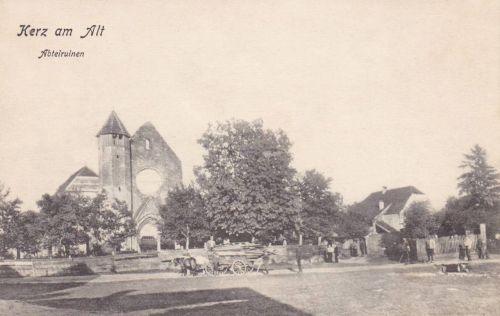 Kerc:cisztercita kolostor gótikus templom romja.1914