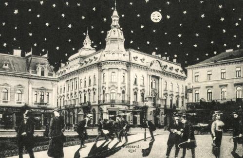 Kolozsvár:éjjel a New-York szálloda előtt,1908.