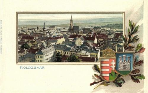Kolozsvár:látkép Magyarország és a város cimerével,1902.