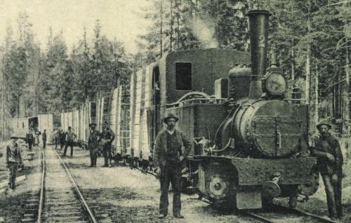 Kommandó:fa árut szállitó vonat a vasúti kitérőnél,1904.