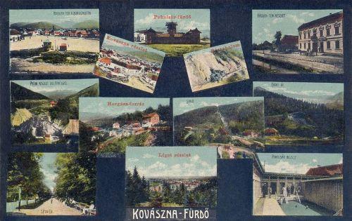 Kovászna:Kossuth tér,Pokolsár,Horgász,Liget,Sikló.1912
