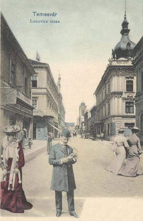 Temesvár:Lonovics utca,Hungária szálloda.1903