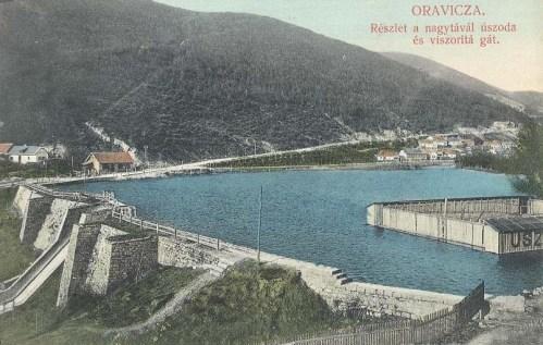 Oravicza:részlet a nagy tóval,uszoda és vizszoritó gát.1912