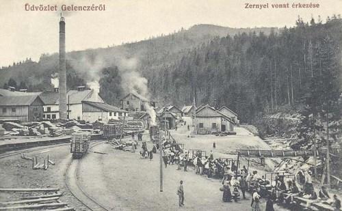 Gelencze:zernyei vonat érkezése.1912