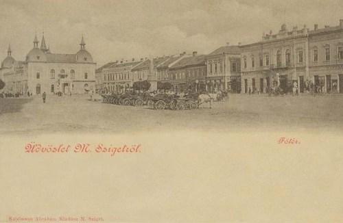Máramarossziget:főtér,Szinház és Korona szálló.1904