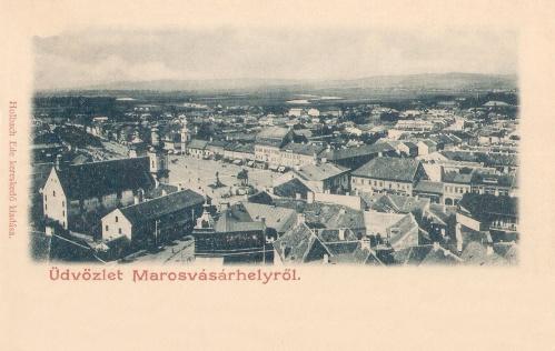 Látkép a református templom tornyából,középen a zenélő kút és a Kossuth szobor.1900