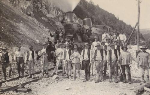 Marosfő:vasút vonal épitése.1915