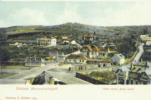 látkép a Baross Gábor utcából,balra a Bernády villa.1905