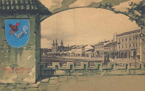 Marosvásárhely,főtér,litográfia a város cimerével (bástya). 1901