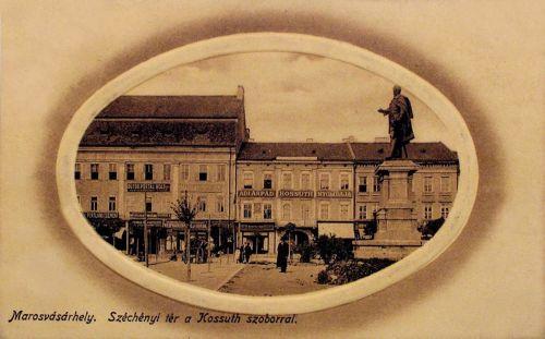 Marosvásárhely:Kossuth szobor és Ady Árpád nyomdája.1912