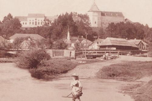 Marosvécs:Kemény kastély a Maros partról,1906 körül.