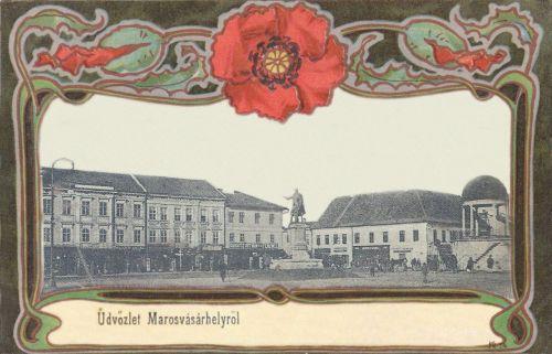Marosvásárhely:Kossuth szobor és zenélő kút.1901