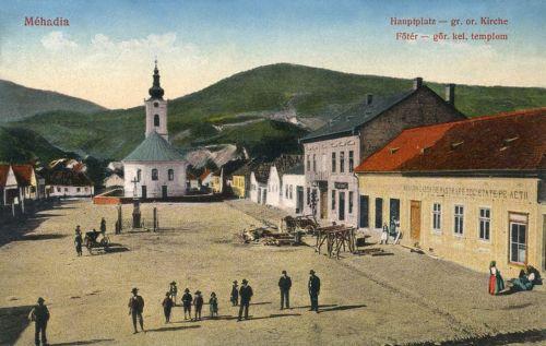 Mehádia:Főtér a templommal.1913