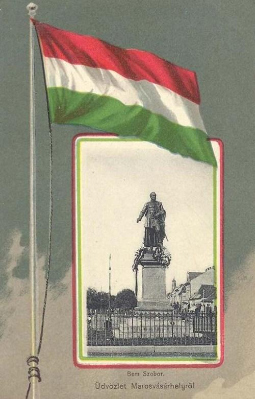 Marosvásárhely,Bem József szobra.( zászlós),1880-ban avatták fel. 1901