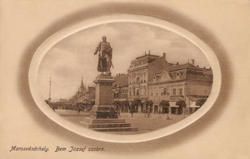 Marosvásárhely:Bem József tábornok szobra,alkotója Huszár Adolf szobrász.1912