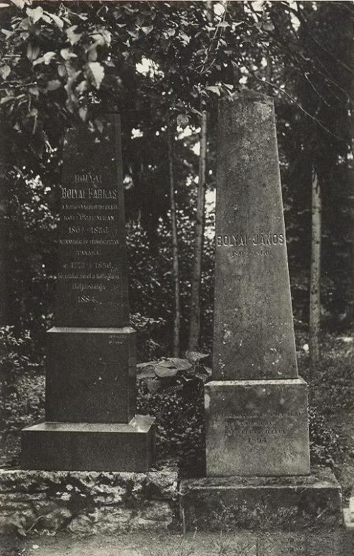 Marosvásárhely:Bolyai Farkas és Bolyai János sirja a református temetőben.1942
