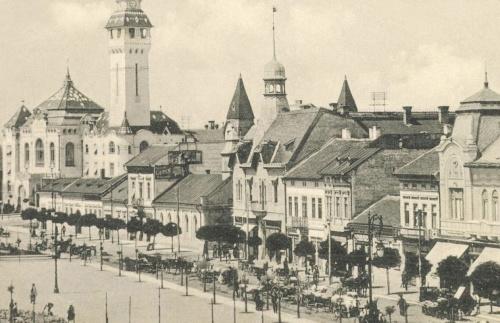 Széchenyi-tér:Városháza,evangélikus templom,Agrár Takarékpénztár,1910.