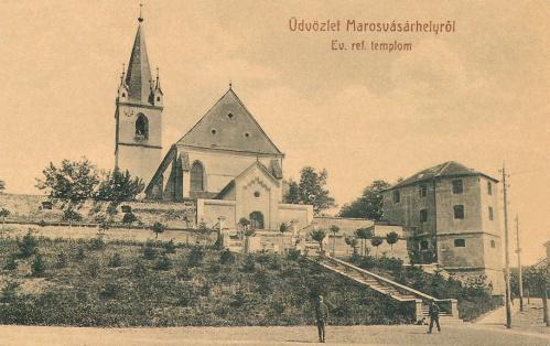 Marosvásárhely:református templom a lépcsővel.1907