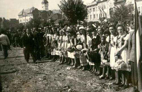 Marosvásárhely:várják a magyar honvédeket,1940 szeptember.
