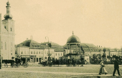 Plébánia,régi városháza,Bodor-kút,Kossuth szobor,1907.