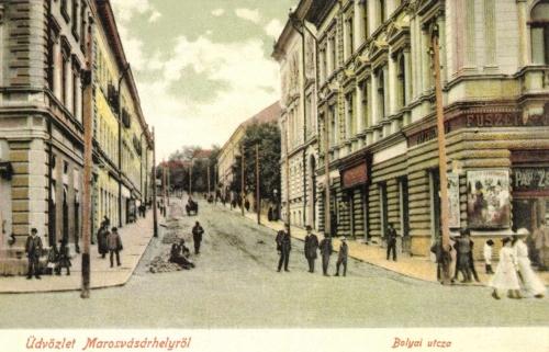 Bolyai utca,jobbra Pap Zsigmond fűszerkereskedése,1905.