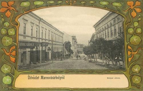 Bolyai utca,balra König Károly fodrász üzlete,szecessziós kőnyomat.1901
