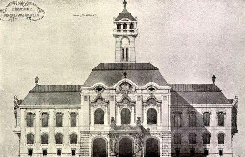 Marosvásárhelyi városháza győztes neobarokk pályaterve,készítői Komor Marcell és Jakab Dezső,(Székház jelige alatt),1905.