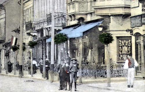 Széchenyi-tér:Korzó kávéház terasza,1905-ben.