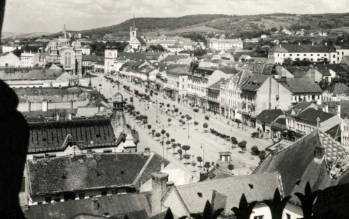 Marosvásárhely:látkép a városháza tornyából a Főtér irányába,1942.