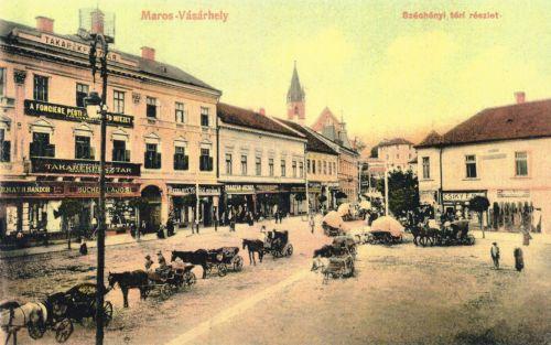 Széchenyi téri részlet,balra a Takarékpénztár,1910.