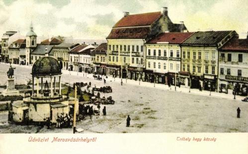 Főtéri részlet a Bodor kúttal és a Kossuth szoborral,1905.