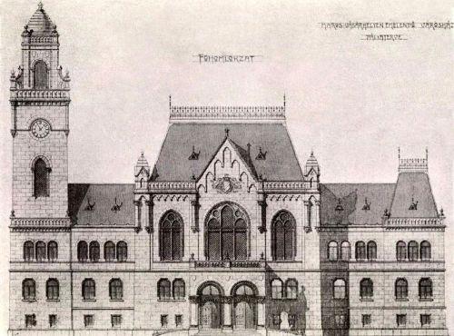 Marosvásárhelyi városháza pályaterve,(főhomlokzat), 1905 júniusában .