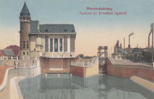 Marosvásárhely:1907-ben épült Turbina-villanytelep az Erzsébet ligetnél.1915