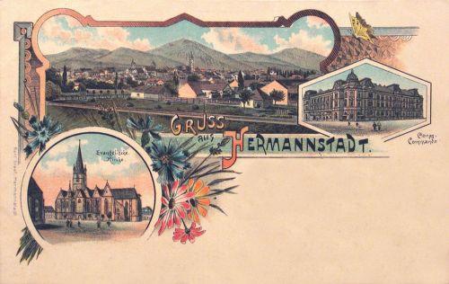 Nagyszeben,lito,evangélikus templom,Parancsnoksági épület. 1899