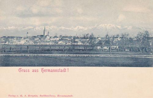 Nagyszeben:város látképe a Déli Kárpátokkal.1903