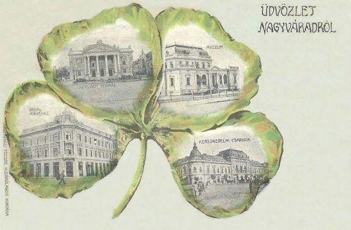 Nagyvárad:Szinház,Múzeum,Royal kávéház,Kereskedelmi csarnok.1902