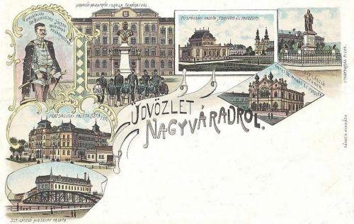Nagyvárad,kőnyomat,Szent László és Ferencz József szobor. 1899