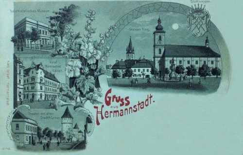 Nagyszeben-Hermannstadt-Sibiu:Szinház,Hotel,Nagykörút.1898