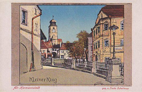 Nagyszeben:Kis körút a várostoronnyal,szinezett rajz.1913