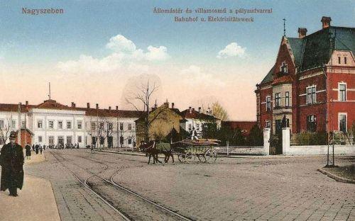 Nagyszeben:Állomás tér a Villamos Művekkel és a pályaudvarral.1912