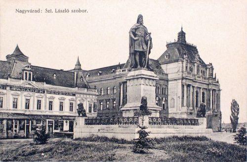 Nagyvárad:Szent László szobor,balra Takarékpénztár.1915