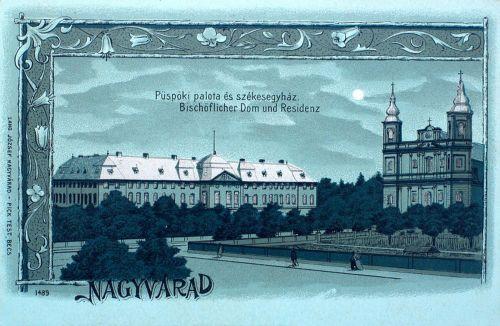 Nagyvárad:püspöki palota és székesegyház,ezüst litográfia.1899