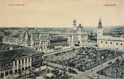 Nagyvárad:Szent László tér,balra sörcsarnok és kávéház.1909