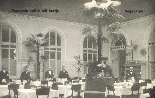 Nagyvárad:Pannónia szálló éttermének téli kertje,1905.
