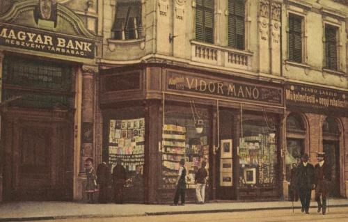 Rákóczi út,Magyar Bank R.T.zene bolt,vegyi ruhatisztitó,1916.