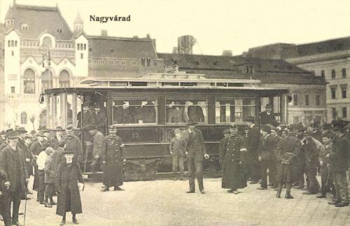Nagyvárad:13-as villamos a Szent László téren,1906-ban.